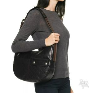 Frye Samantha Quilted Leather Black Hobo Bag Purse